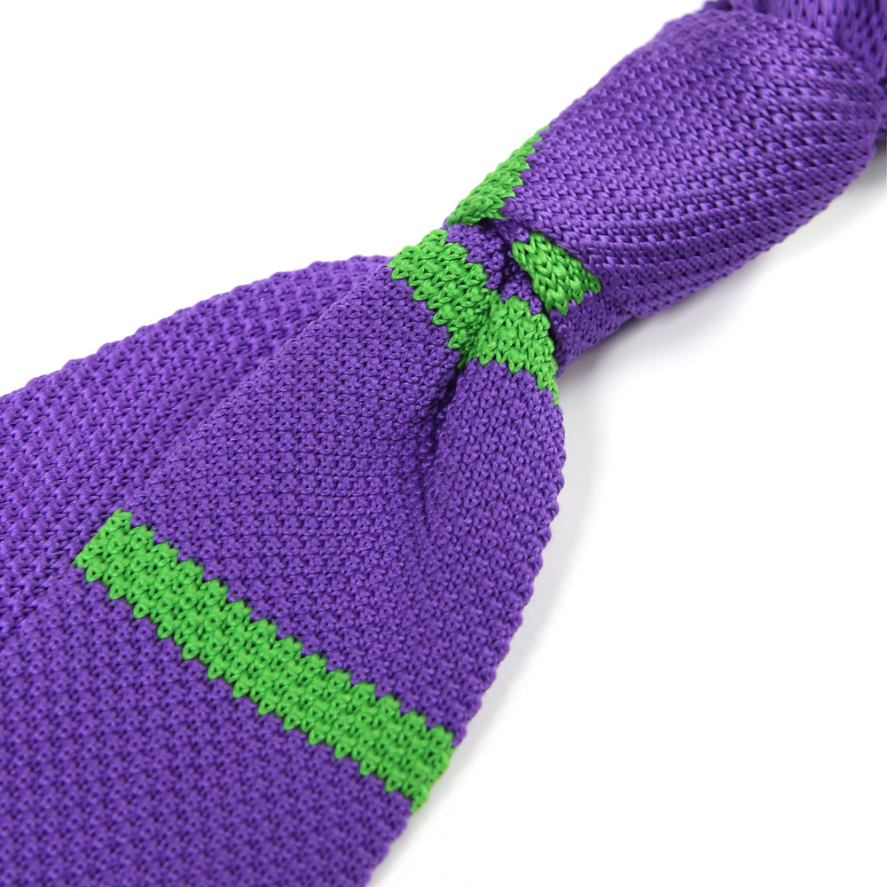 knit tie purple/green