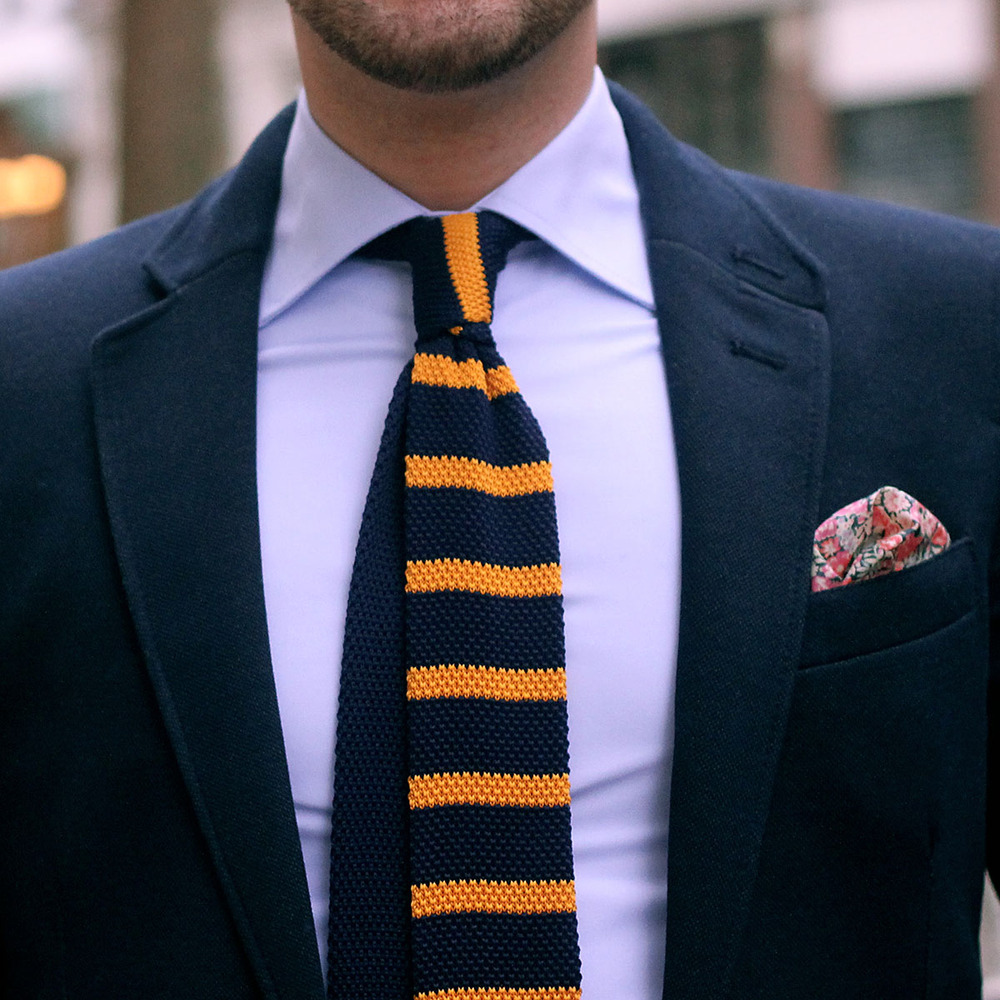 rugby knit tie navy/gold