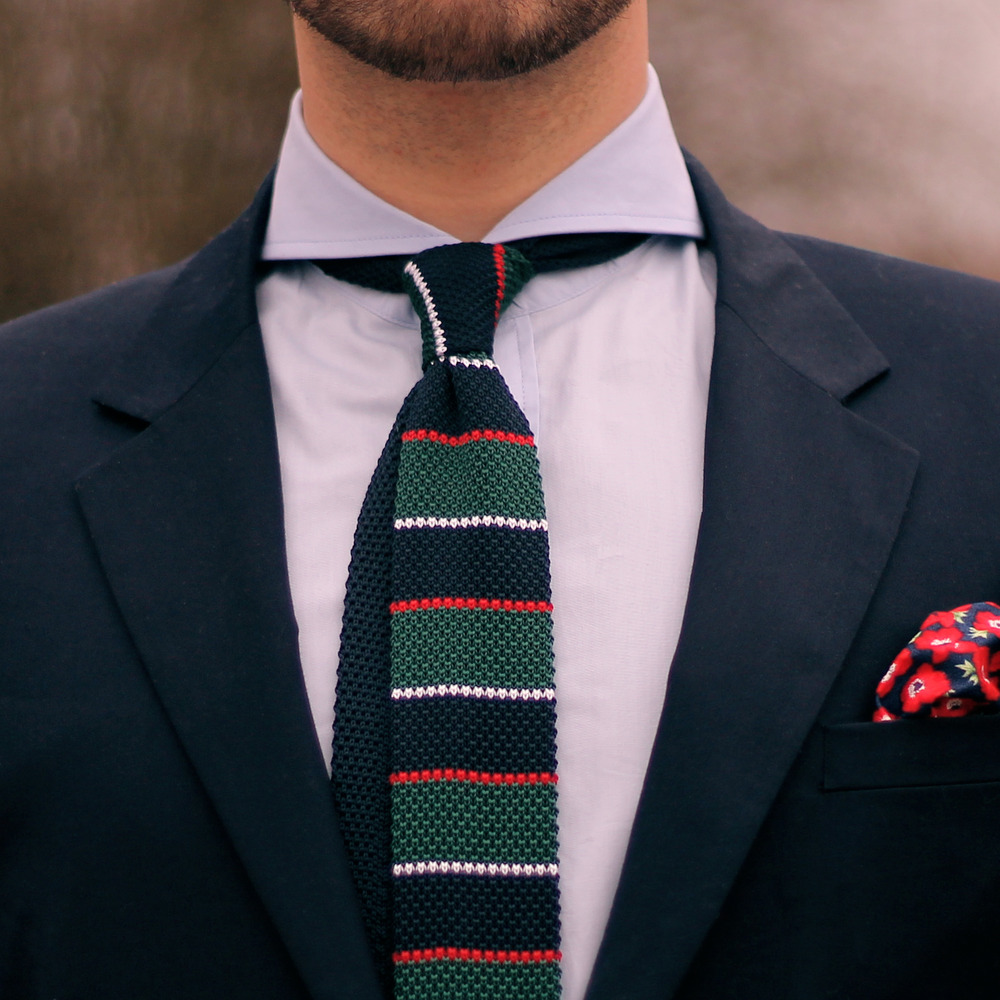 4-colored muti striped knit tie   messness store