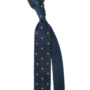 Dotted-Knit-Tie-Navy