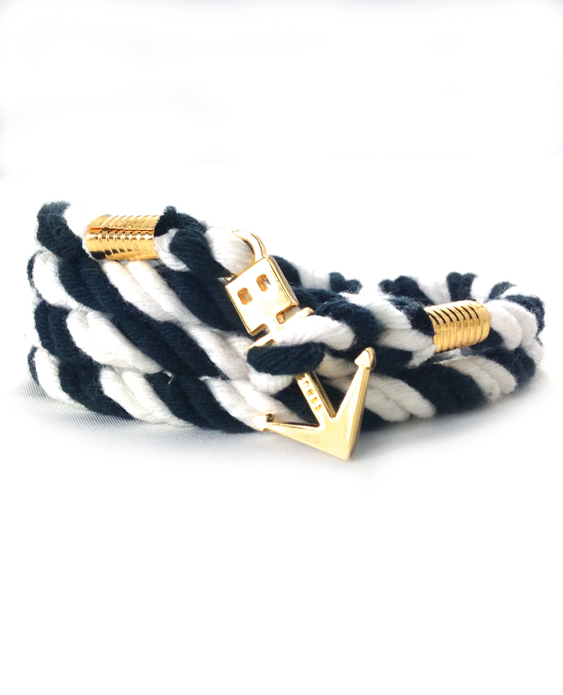 anchor bracelet black/white