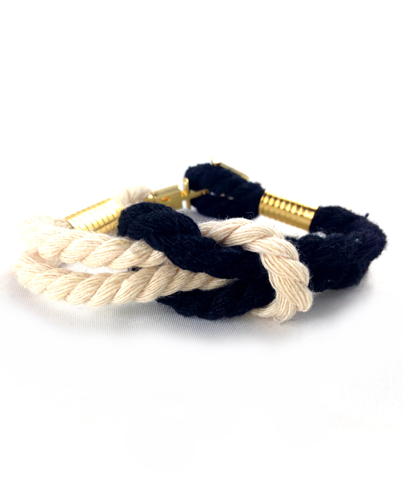 anchor X cross bracelet beige/blk