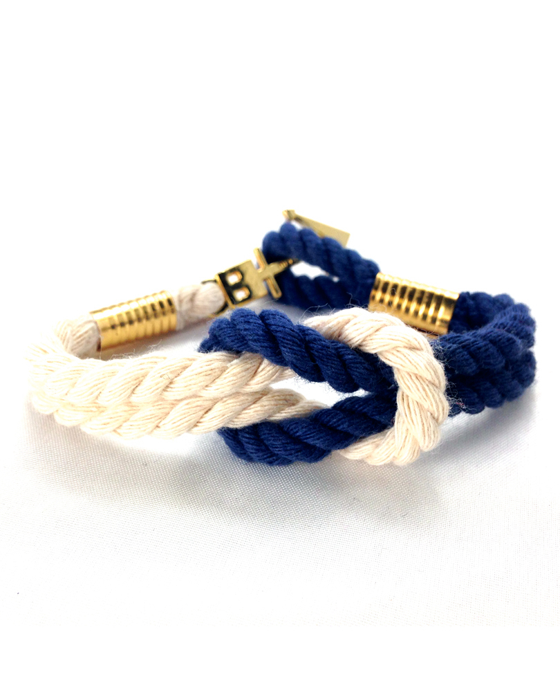 anchor X cross bracelet beige/navy